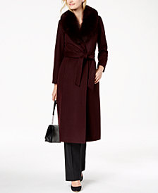 Forecaster Fox-Fur-Collar Maxi Wrap Coat
