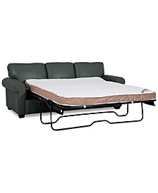 """Orid 82"""" Queen Leather Sleeper, Created for Macy's"""