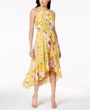 Vince Camuto Ruffled Floral High-Low Maxi Dress 6059415