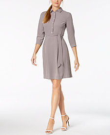 Anne Klein Printed A-Line Belted Shirtdress