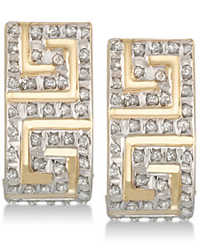 Diamond Fascination Diamond Accent Greek Key J-Hoop Earrings in 10k Gold