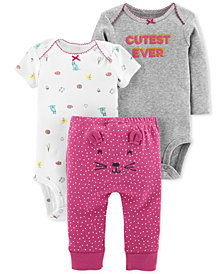 Carter's Baby Girls 3-Pc. Cotton Cutest Ever Bodysuits & Pants Set