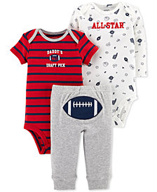 Carter's Baby Boys 3-Pc. Football Cotton Bodysuits & Pants Set