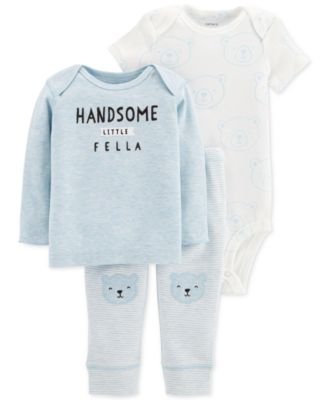 Image of Carter's Baby Boys 3-Pc. Handsome Little Fella T-Shirt, Bodysuit & Pants Set