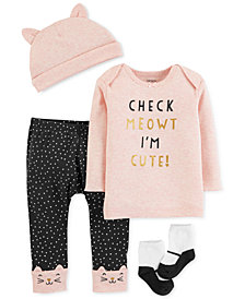 Carter's Baby Girls 4-Pc. Hat, T-Shirt, Pants & Socks Set