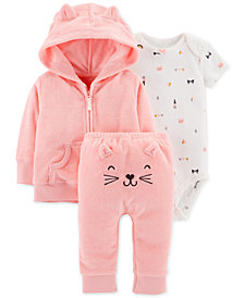 Carter's Baby Girls 3-Pc. Kitten Cardigan, Bodysuit & Pants Set