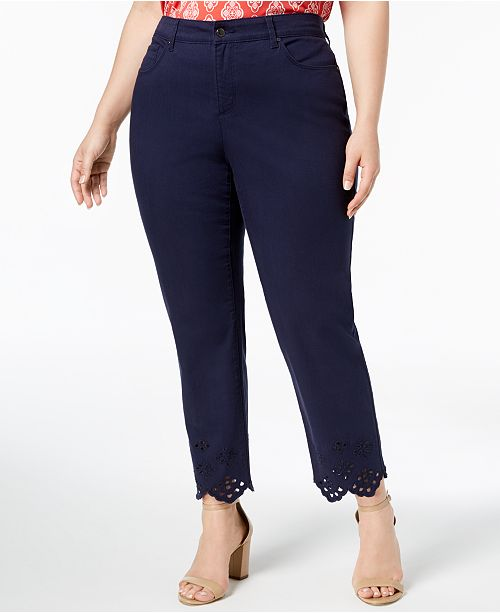 for Blue Macy's Ankle Jeans Created Trim Eyelet Size Club Intrepid Plus Charter qxw86fTP