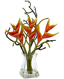 Nearly Natural Silk Heliconia & Glass Vase