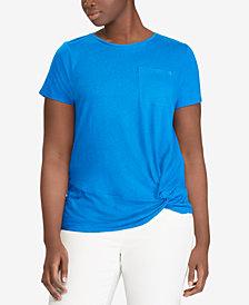Lauren Ralph Lauren Plus Size Twisted-Knot T-Shirt