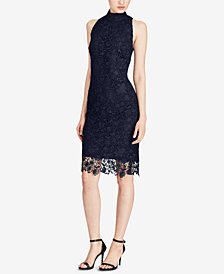 Lauren Ralph Lauren Lace Mock-Neck Dress