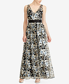 Lauren Ralph Lauren Floral-Embroidered Gown