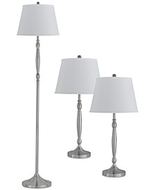 Silver Set of 3 Lamps, 2 Table Lamps & 1 Floor Lamp