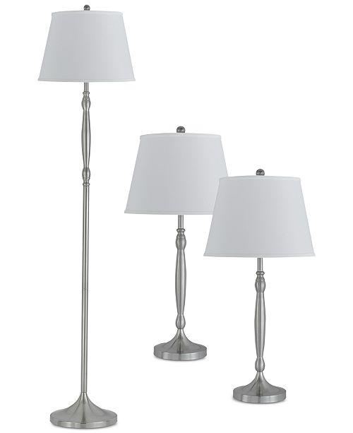 Cal Lighting Silver Set of 3 Lamps, 2 Table Lamps & 1 Floor Lamp