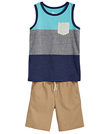 Epic Threads Little Boys Colorblocked Tank Top & Shorts Separates, Created for Macy's