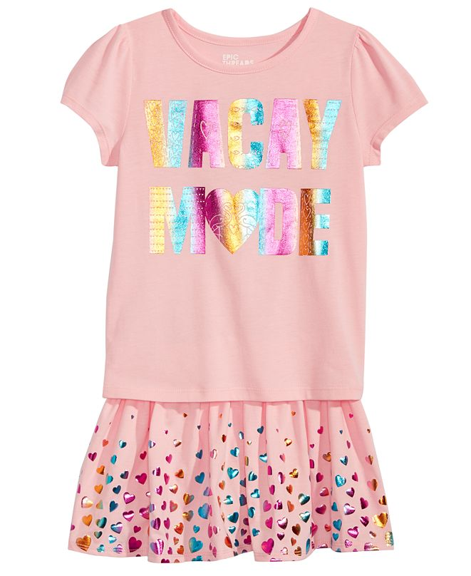 Epic Threads Toddler Girls Vacay Mode T-Shirt & Scooter Skirt, Created for Macy's