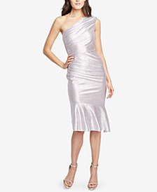 RACHEL Rachel Roy Metallic One-Shoulder Midi Dress