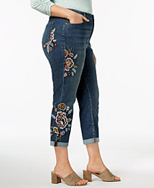 Style & Co Plus Size Embroidered Boyfriend Jeans, Created for Macy's