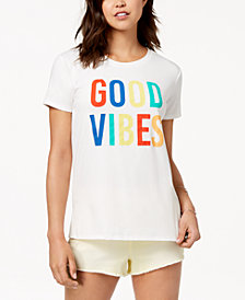 Love Tribe Juniors' Good Vibes Graphic-Print T-Shirt