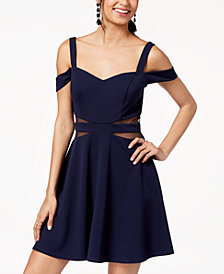 Speechless Juniors' Cold-Shoulder Illusion-Contrast Dress