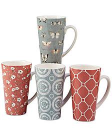 Certified International Country Weekend Latte Mugs, Set of 4