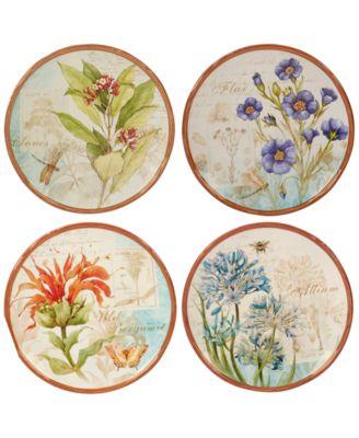 Herb Blossom Dessert Plates, Set of 4