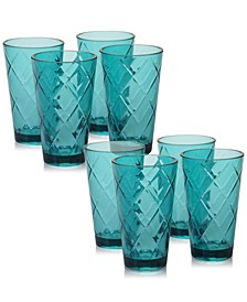Teal Diamond Acrylic 8-Pc. Iced Tea Glass Set