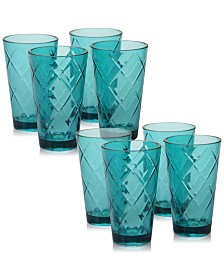 Certified International Teal Diamond Acrylic 8-Pc. Iced Tea Glass Set