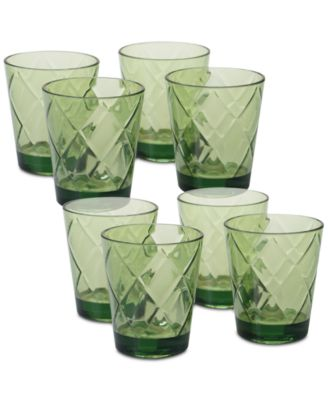 Green Diamond Acrylic 8-Pc. Double Old Fashioned Glass Set