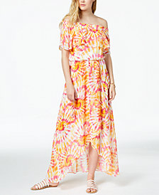 The Edit By Seventeen Juniors' Printed Off-The-Shoulder Maxi Dress, Created for Macy's