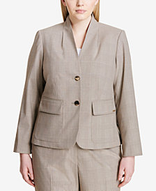 Calvin Klein Plus Size Two-Button Plaid Blazer