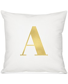 """Cathy's Concepts Personalized Gold Metallic-Print Initial 16"""" Square Decorative Pillow"""
