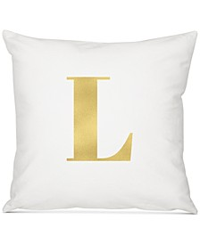 "Personalized Gold Metallic-Print Initial 16"" Square Decorative Pillow"
