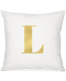 "Cathy's Concepts Personalized Gold Metallic-Print Initial 16"" Square Decorative Pillow"