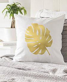 "Cathy's Concepts Gold Metallic-Print Palm 16"" Square Decorative Pillow"