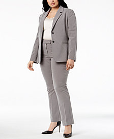 Tahari ASL Plus Size Two-Button Pinstriped Pantsuit