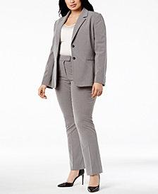 Tahari ASL Plus Size Two-Button Pinstriped Pantsuit