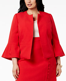 Nine West Plus Size Ruffle-Sleeve Jacket