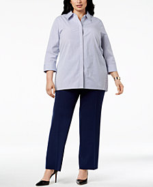 Kasper Plus Size Striped Shirt & Trousers