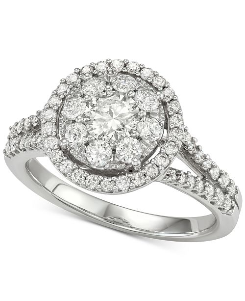 Macy's Diamond Halo Cluster Engagement Ring (1-1/4 ct. t.w.) in 14k White Gold