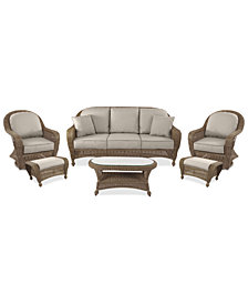 Sandy Cove Outdoor Wicker 6-Pc. Seating Set (1 Sofa, 2 Swivel Gliders, 2 Ottomans and 1 Coffee Table) Custom Sunbrella®, Created for Macy's