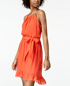 BCX Juniors' Sleeveless Ruffled-Hem Dress