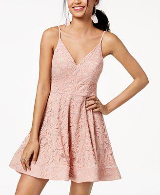 Sequin Hearts Juniors Lace Fit Flare Dress Dresses Juniors