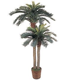 Nearly Natural 6' & 4' Sago Palm Double-Potted Artificial Tree