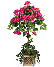 Nearly Natural Artificial Bougainvillea Topiary with Wood Planter