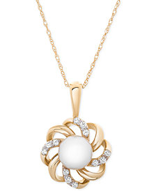 "Cultured Freshwater Pearl (8mm) & Diamond (1/10 ct. t.w.) Flower 18"" Pendant Necklace in 14k Gold"