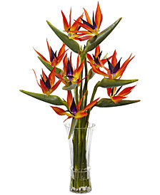 Nearly Natural Silk Birds of Paradise & Vase