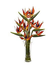 Nearly Natural Silk Birds of Paradise & Vase