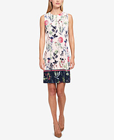 Tommy Hilfiger Sleeveless Floral-Printed Border Dress