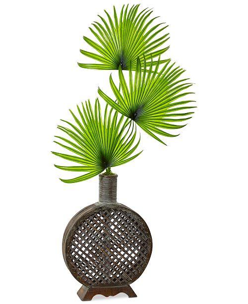 Nearly Natural Artificial Fan Palm Arrangement in Open Weave Vase