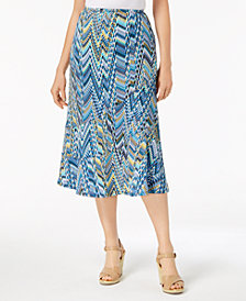 NY Collection Petite Printed Seamed Midi Skirt
